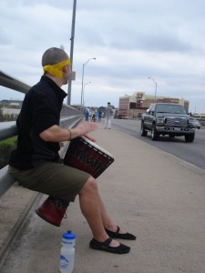 Bananarchist playing a djembe